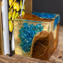 Load image into Gallery viewer, Hazlett Bookends Teak/blue Resin