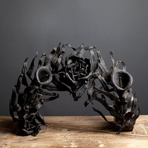 Black French Iron Piece - floral and leaves