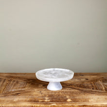 Load image into Gallery viewer, White Swirl Footed Resin Cake Stand Sm, 6.69""