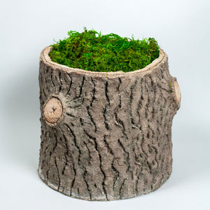 French Faux Bois Small Stump Planter - hand sculpted cement