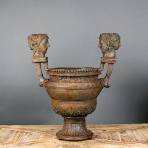 Classical Roman Cast Bronze Handled Urn with Faces