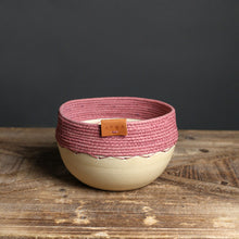 Load image into Gallery viewer, Ceramic and Cotton Rope Cachepots
