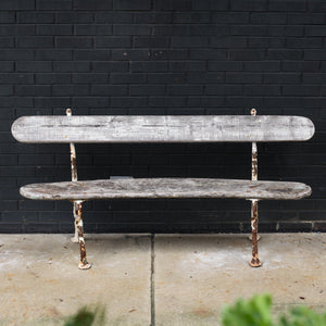 Curved Wood and Iron French Bench