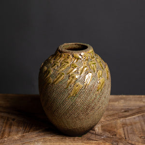 Ikebana Vase, Textured With Soft Green Detail