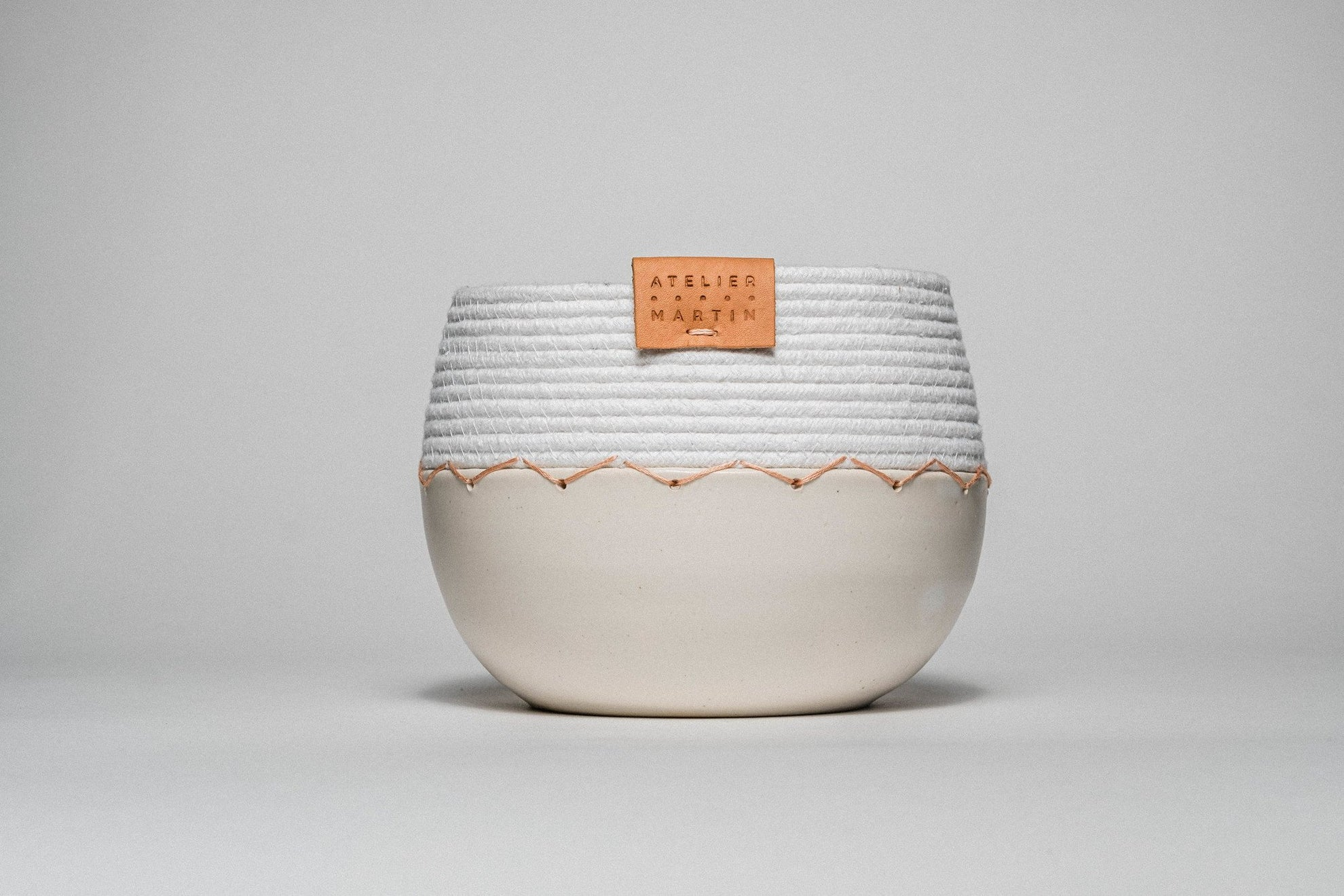Ceramic and Cotton Rope Cachepots