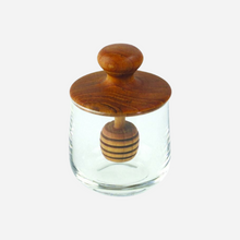 Load image into Gallery viewer, Teak & Glass Honey Jar