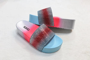 Shining diamond women shoes high heel gradient colors rainbow multi colors crystal lady slides sandals outdoor PCU thick sole slippers