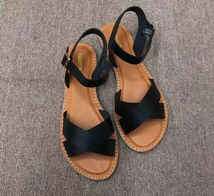 Classic imitation genuine leather sandal for women, summer flat sandals, casual shoes for women