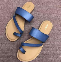 Load image into Gallery viewer, Classic imitation genuine leather sandal for women, summer flat sandals, casual shoes for women
