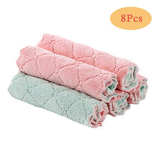 Load image into Gallery viewer, 8PCS Microfiber Kitchen Towel Absorbent Dish Cloth Non-stick Oil Washing Kitchen Rag Household Tableware Cleaning Wiping Tools
