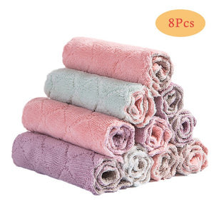 8PCS Microfiber Kitchen Towel Absorbent Dish Cloth Non-stick Oil Washing Kitchen Rag Household Tableware Cleaning Wiping Tools