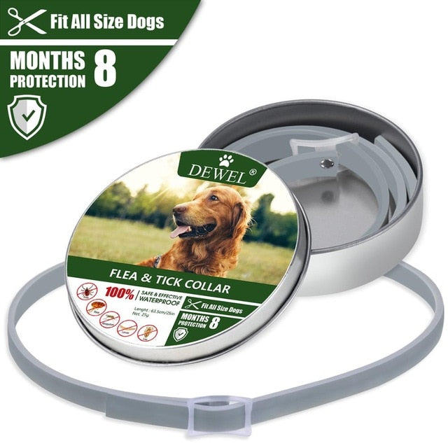 Dewel Anti Flea Ticks Insect Mosquitoes 8 Months Protection Waterproof Long Lasting Dog Collar Custom Puppy Cat Pet Collars