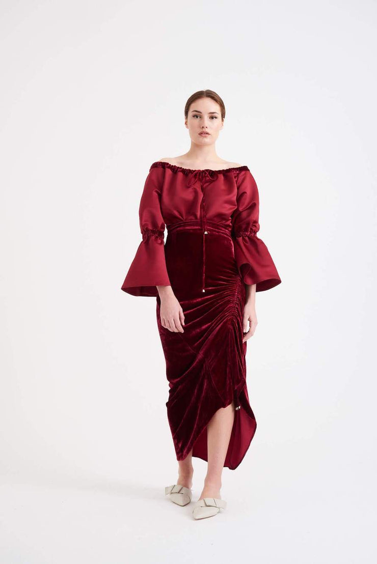 TARA CROP & SALONI BURGUNDY