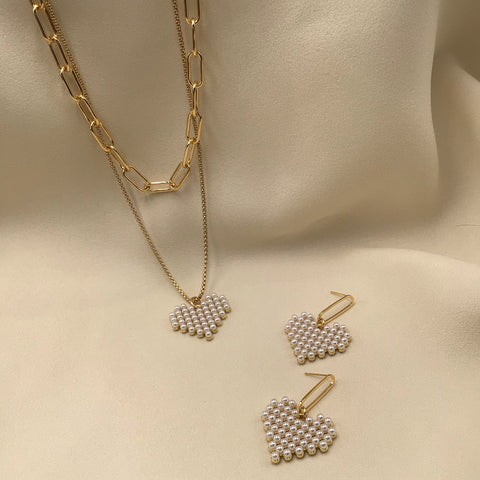 Mine Layered Necklace with Heart-shaped Pendant and Earring
