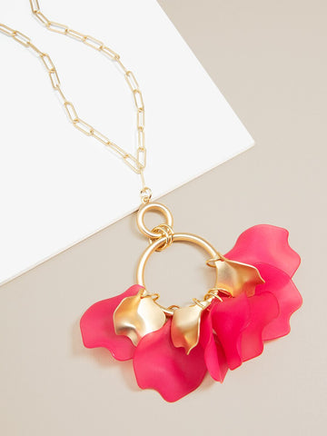 Long Matte Chain Rose Set Necklace and Earring