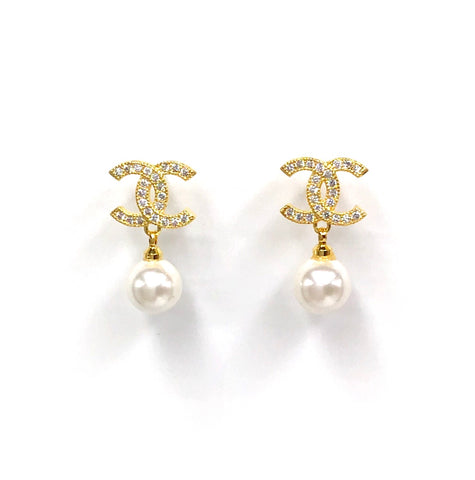 CC Earrings with Pearl