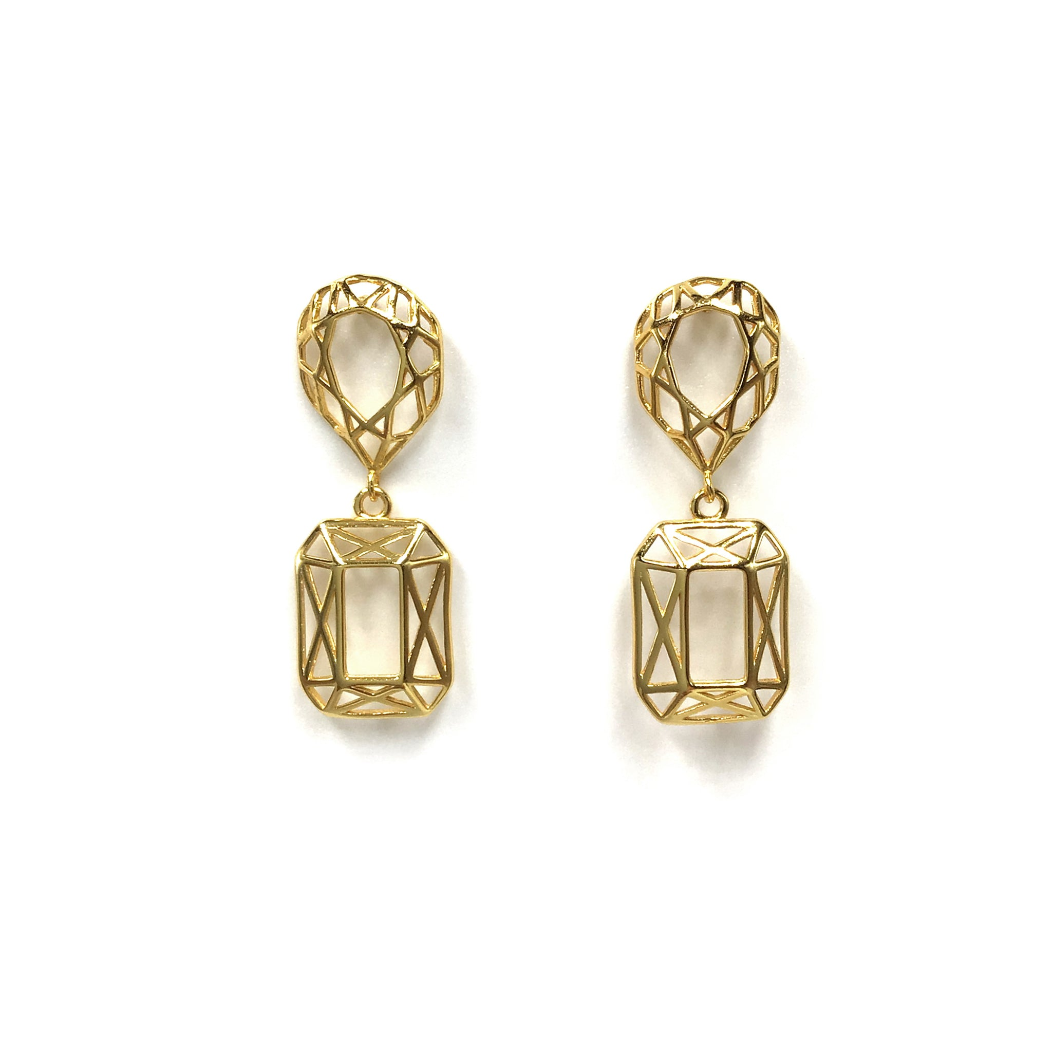 Hollow Geometric Drop Earring