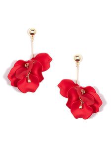 Painted Red Petals Dangle Earring