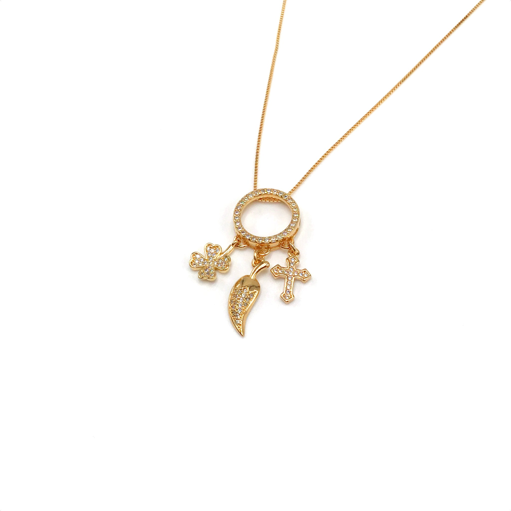 Lucky Charms Necklace with Cross, Pepper and Clover with White Micro Zirconia