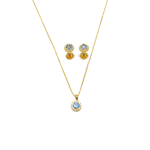Pietre Blu Necklace with Pendant and Earrings Set