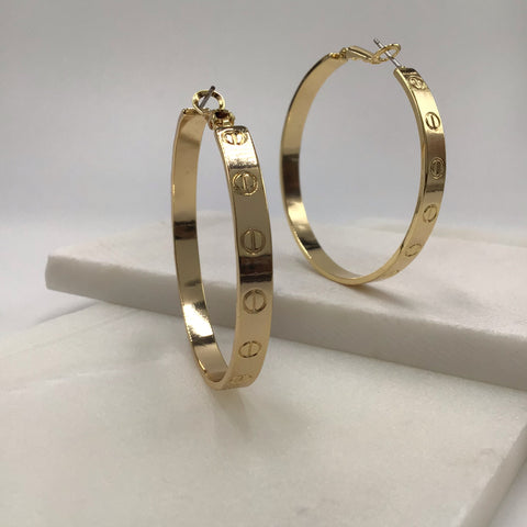 Shiny Hoop Earring in 18K Gold Plated