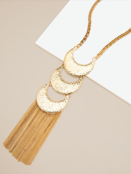 Half Moon Fringe Tassel Necklace
