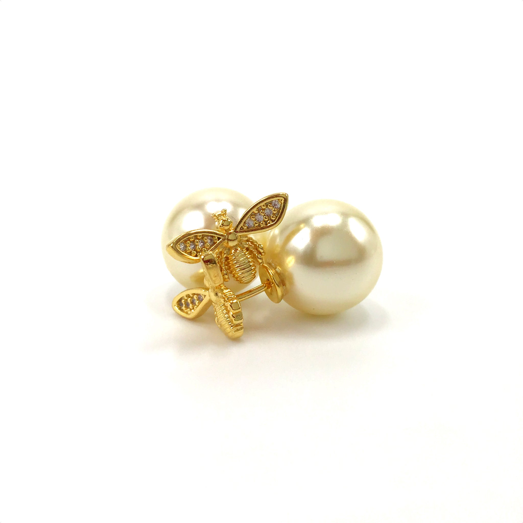 Lux Two Way Bee and Pearl Earrings