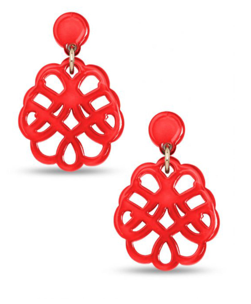 Red Web Drop Earring