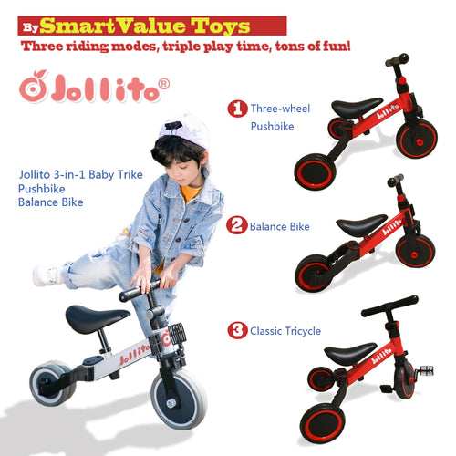 Jollito 3-in-1 Kids Tricycle Indoor/Outdoor Pushbike Balance Bike Baby Trike Baby Toddler Ride-On Bike Multifunctional (Blue and Red) Free Shipping CANADA, USA $USD89.99