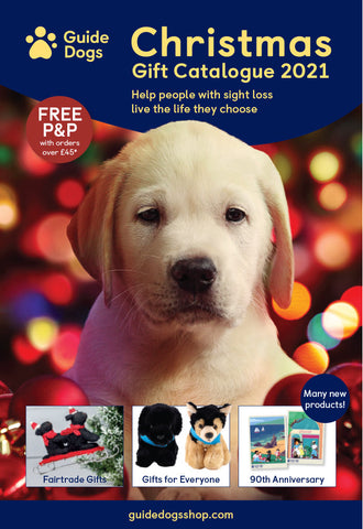 The front cover image of the Guide Dogs 2021 Christmas Catalogue