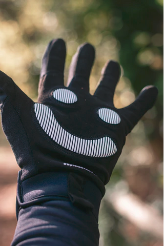 Cyclist wearing cycling gloves