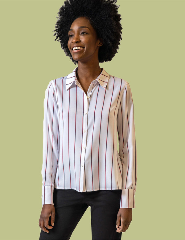 Striped Streep Shirt with Back Button Detail