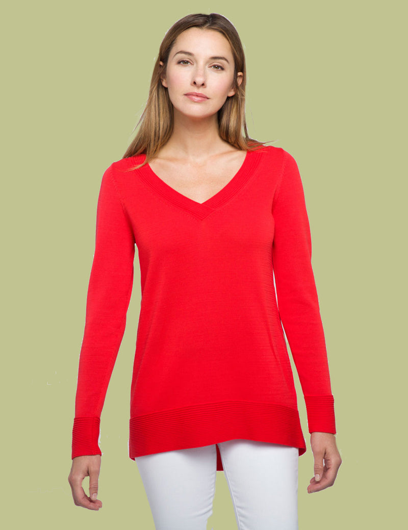 Rounded Hem Vee Pullover