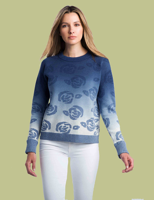 Rose Jacquard Crew Sweater