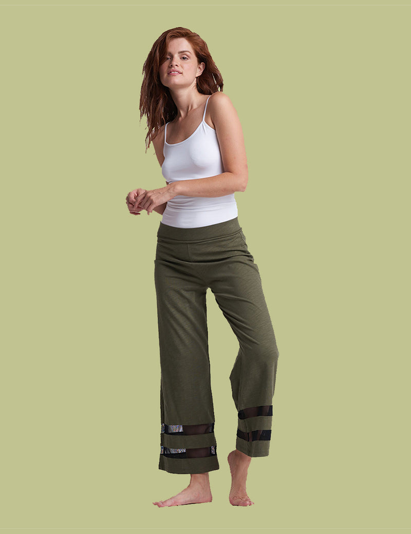 Meshin Around Wide Leg Ankle Pants