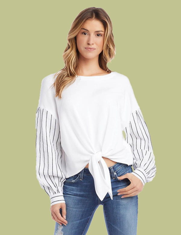 Contrast Top with Striped Sleeve