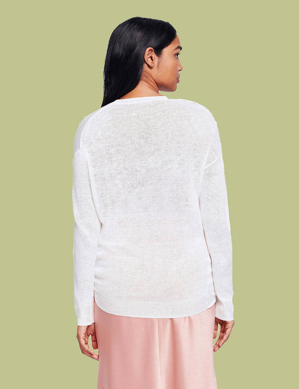 Knotted Crewneck Linen Sweater