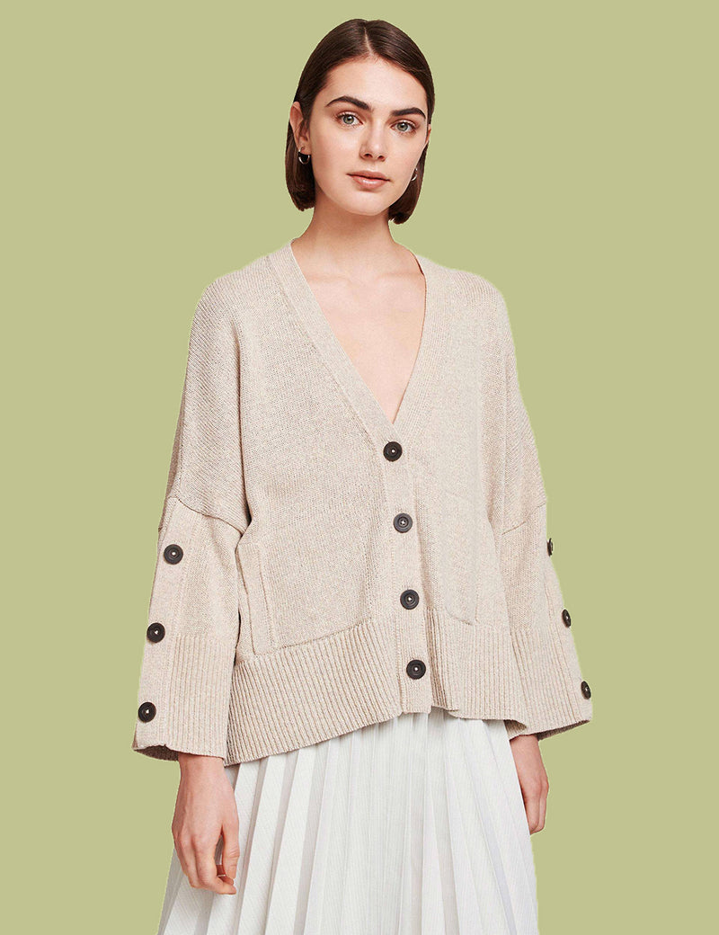 Cotton Button Sleeve Cardigan
