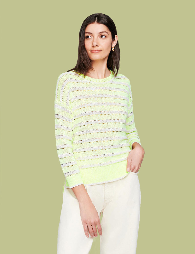 Cotton Neon Striped Crew