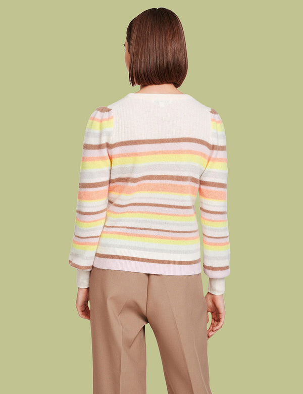 Ribbed Yoke Striped Cashmere Crewneck