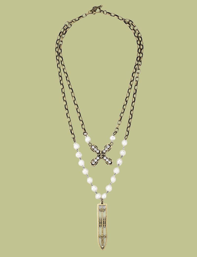 Double Strand French Kiss and Sword Necklace