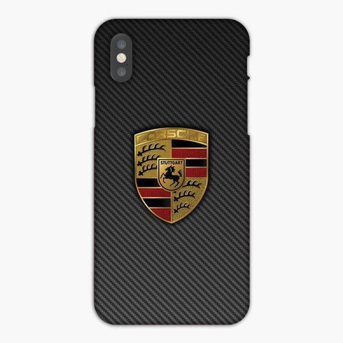 Custodia Cover iphone X XS Max XR Carbon Porsche Logo