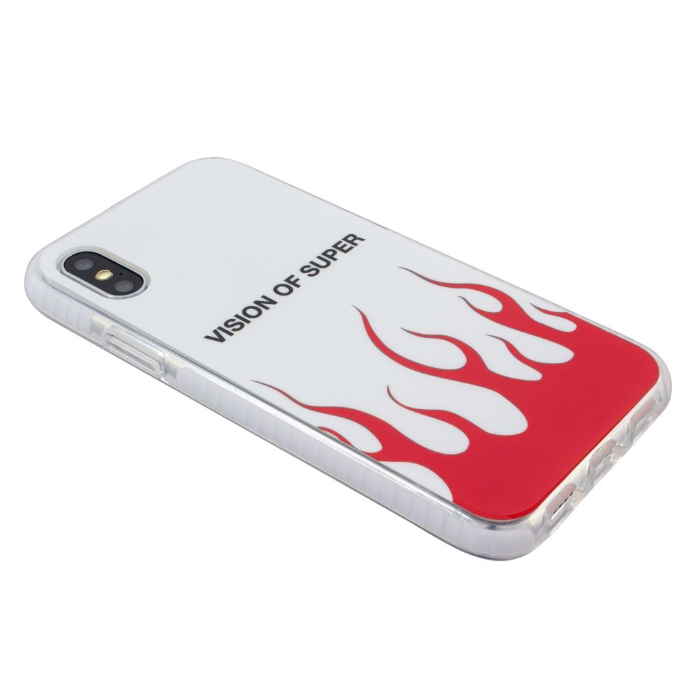 Cover Vision of Super per iPhone XS X - Fiamme rosse e logo