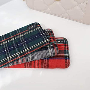 JIA Custodia per Telefono in Morbido Peluche Autunno Caldo Plaid