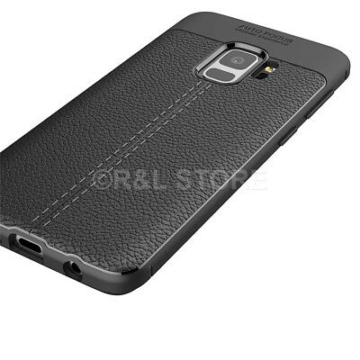 Per SAMSUNG S9 / S9 PLUS COVER CUSTODIA Tpu FEEL LEATHER PELLE CARBON Case  NEW