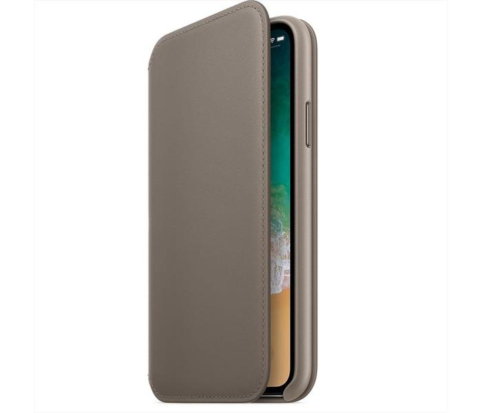 custodia folio in pelle per iphone x - grigio talpa