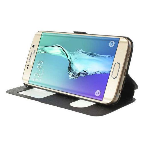 FLIP COVER CUSTODIA LUXURY VIEW STAND PER SAMSUNG GALAXY S6 EDGE PLUS  +PELLICOLA