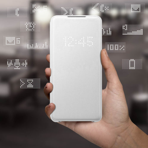 Custodia Galaxy S20 Plus Sportello Traslucido Led View Cover Originale  Bianco