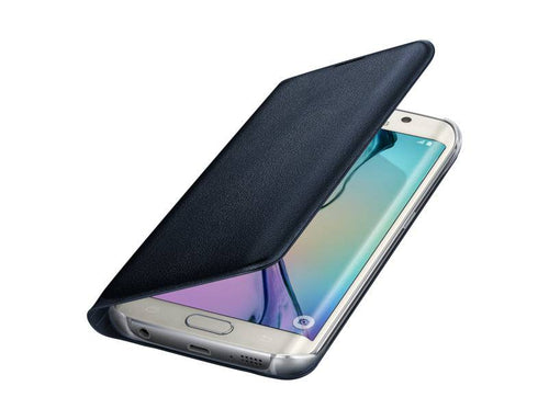 NUOVO Original Equipment Manufacturer Samsung WALLET FLIP CUSTODIA IN PELLE  NERA per Samsung Galaxy S6 Edge