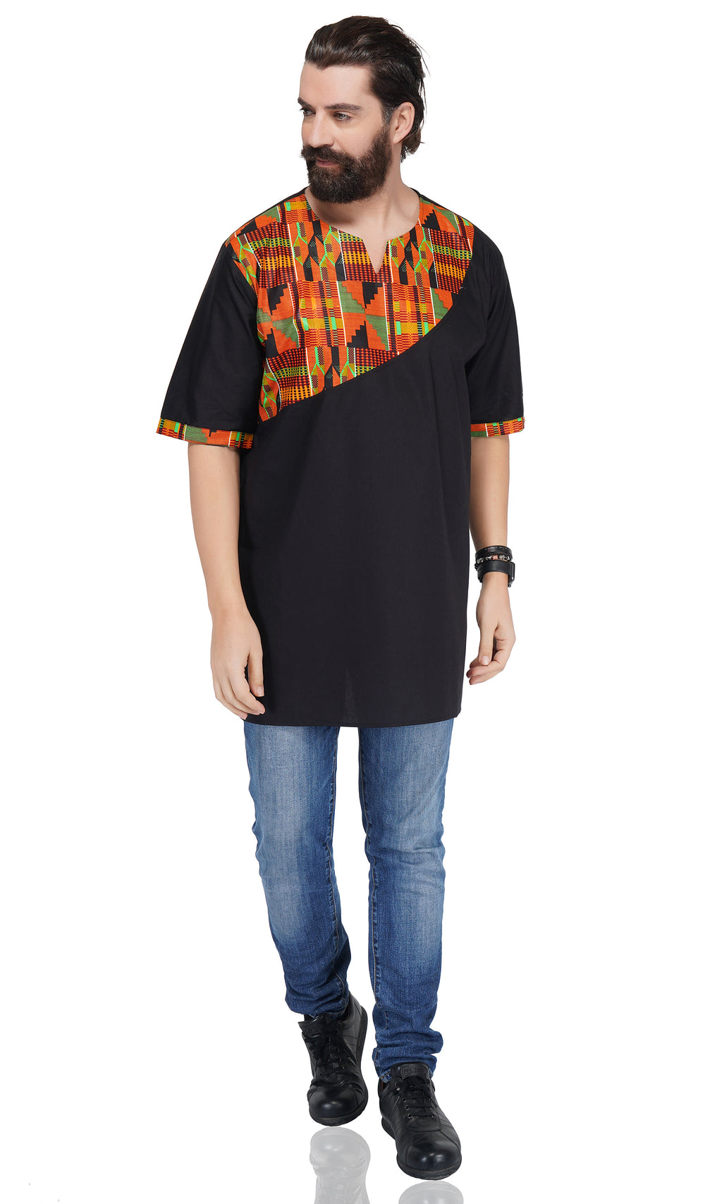 Kente Accent Black Shirt